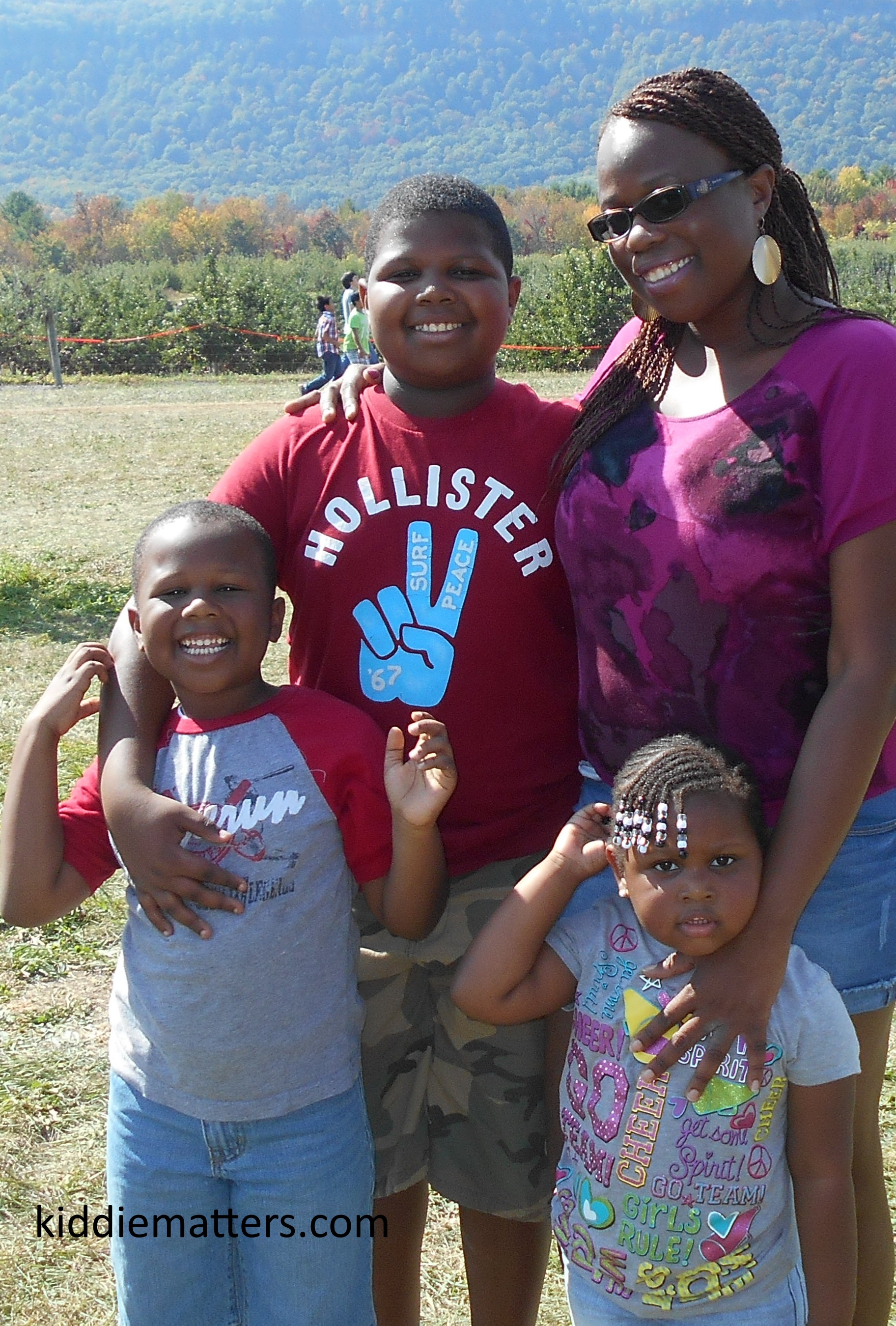 me and kids apple picking
