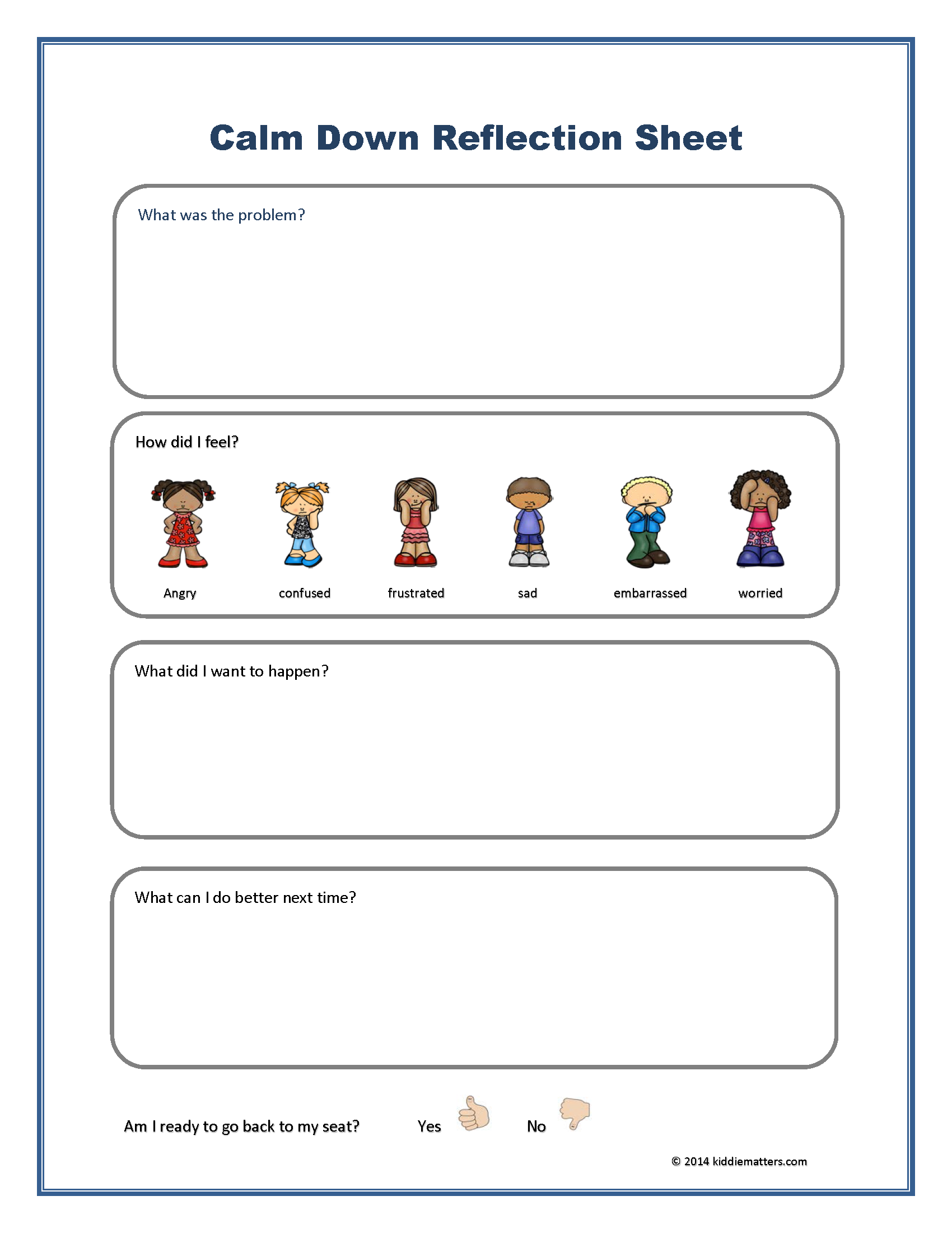 Calm Down Reflection Sheet - Kiddie Matters