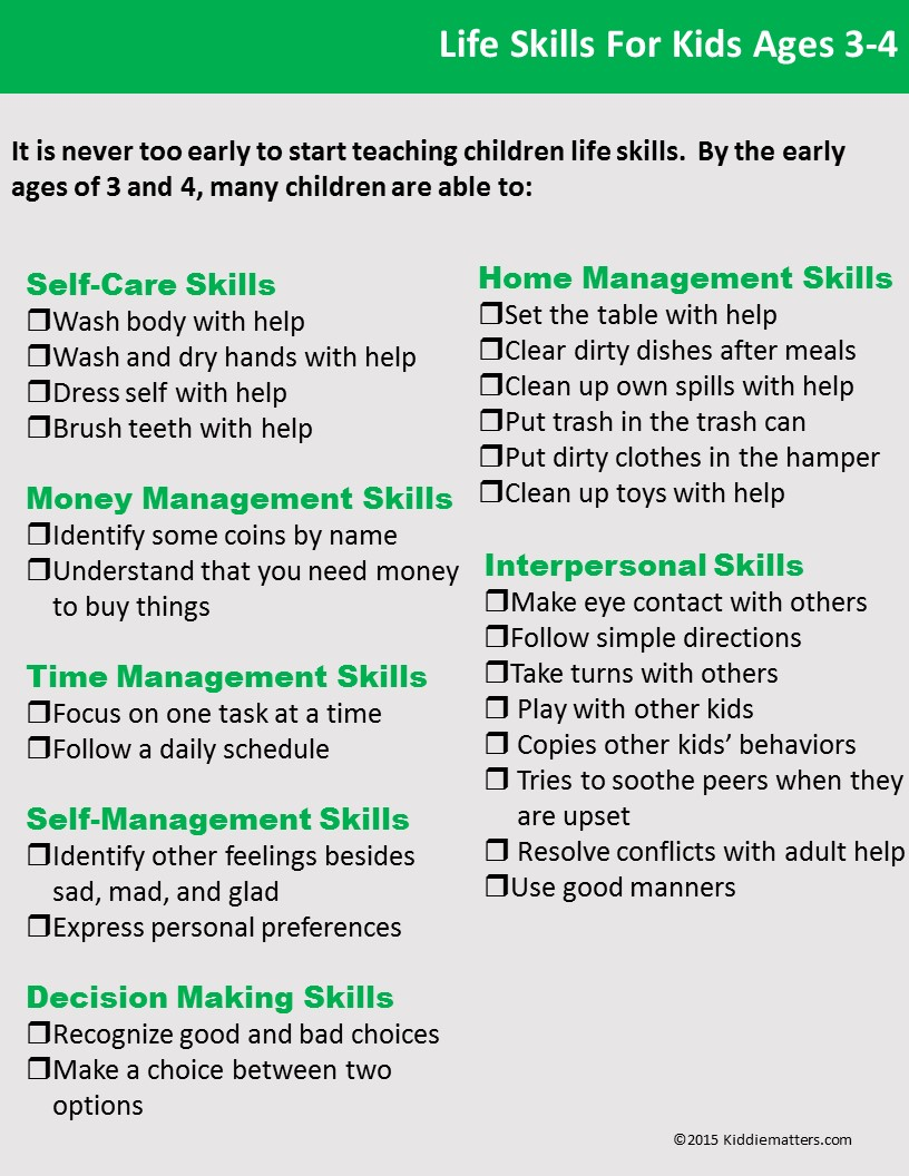 life skills checklists for kids and teens kiddie matters