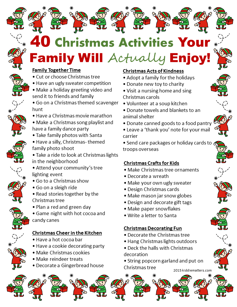40 Christmas Activities Your Family Will Actually Enjoy - Kiddie Matters
