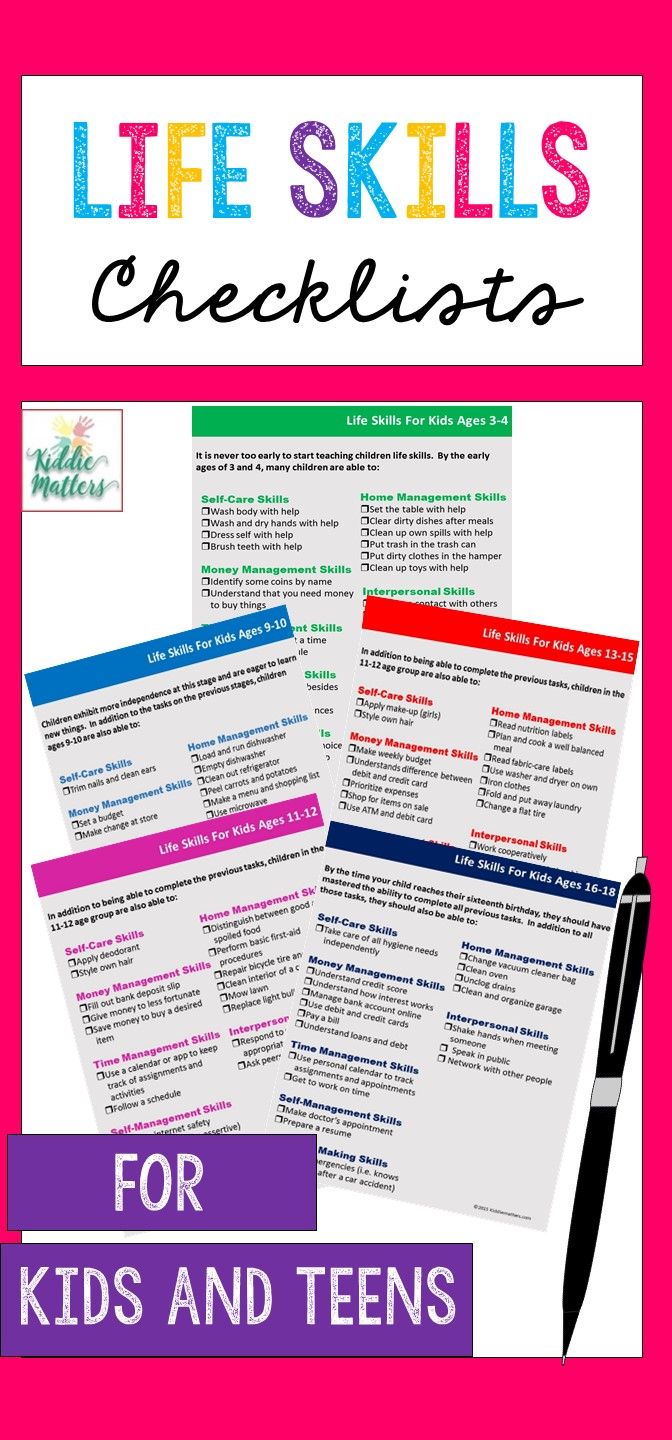 Life skills checklists for kids and teens. You can use these developmental checklists to help teach kids the skills they need to succeed in life. #parenting #childdevelopment
