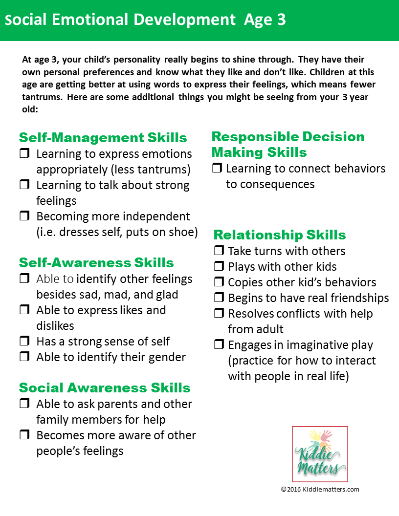 social emotional developmental checklists for kids and