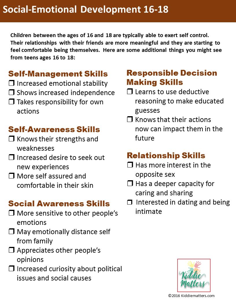 Social Emotional Developmental Checklists For Kids and Teens