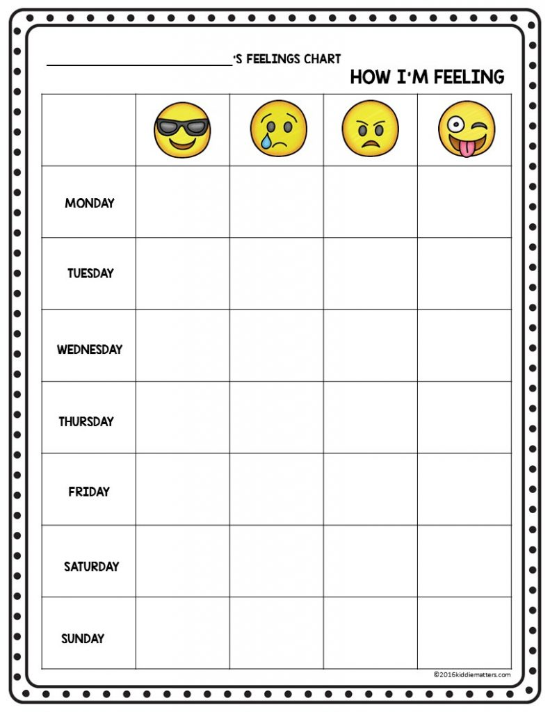 Emoji Feelings Check Up Sheet