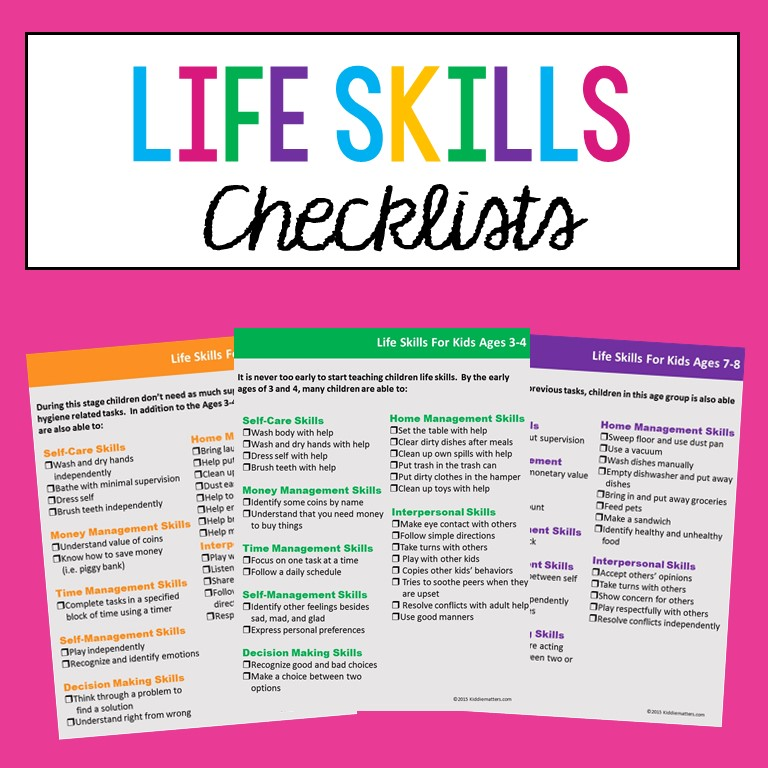 Life Skills Developmental Checklists