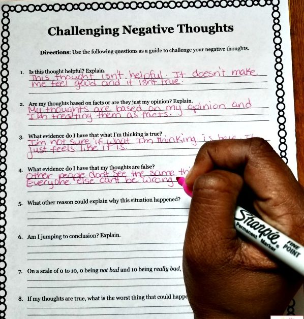 Challenge Negative Self-Talk Worksheet