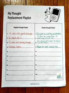 Negative Self-Talk Thought Replacement Playlist Worksheet